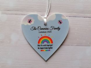 Family Lockdown 2020 Heart Hanging Plaque